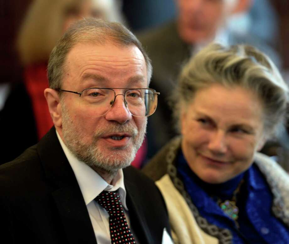 Cell biologist Alexander Varshavsky sits with his wife, Vera, before being honored with the Albany Medical Center Prize in Medicine and Biomedical Research during a ceremony Wednesday morning, May 21, 2014, at Hilton Garden Inn in Albany, N.Y.     (Skip Dickstein / Times Union) Photo: SKIP DICKSTEIN / 00026918A