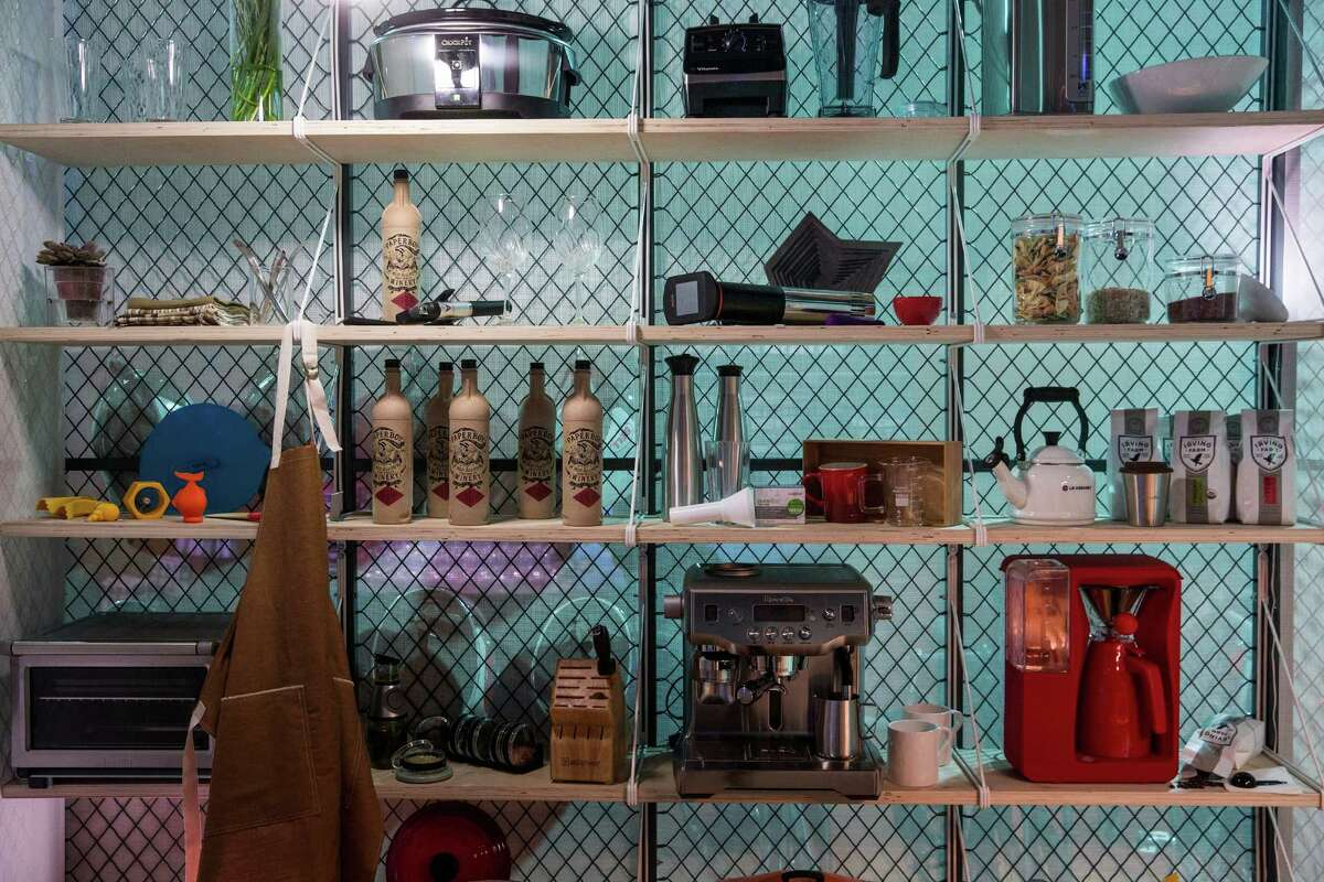 NEW YORK, NY - MAY 16: Kitchen shelves and utensils are seen in Gizmodo's