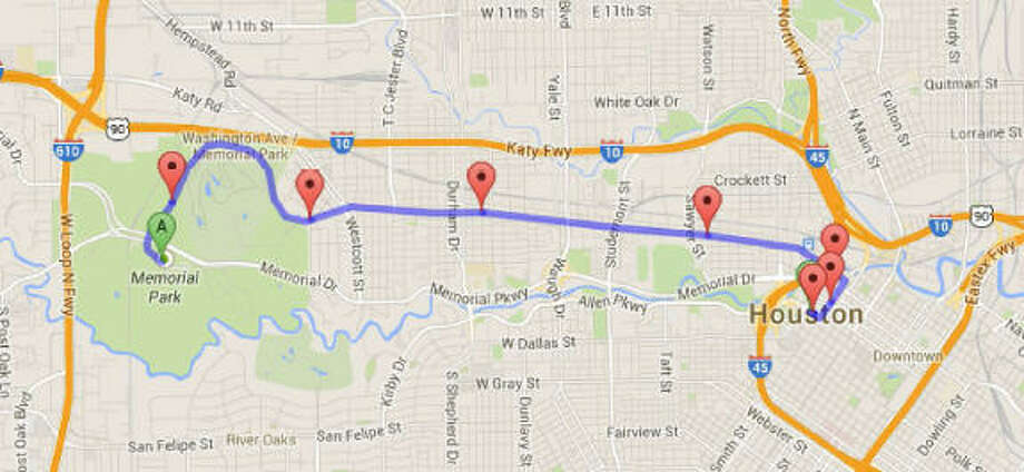 A map of the route that the Houston edition of the Ride of Silence will take tonight. (BikeHouston/Google Maps)