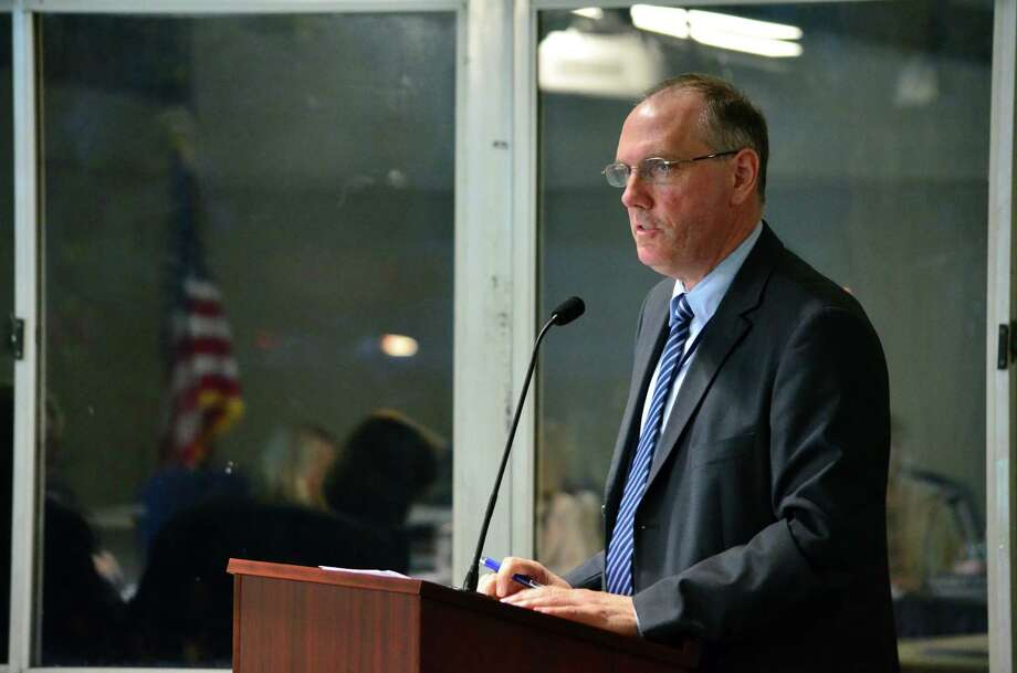 Assistant Superintendent of Secondary Schools Tim Canty spoke to the Board of Education about mandated uniform calendar update at the May 13 Board of Education meeting. Photo: Megan Spicer / Darien News