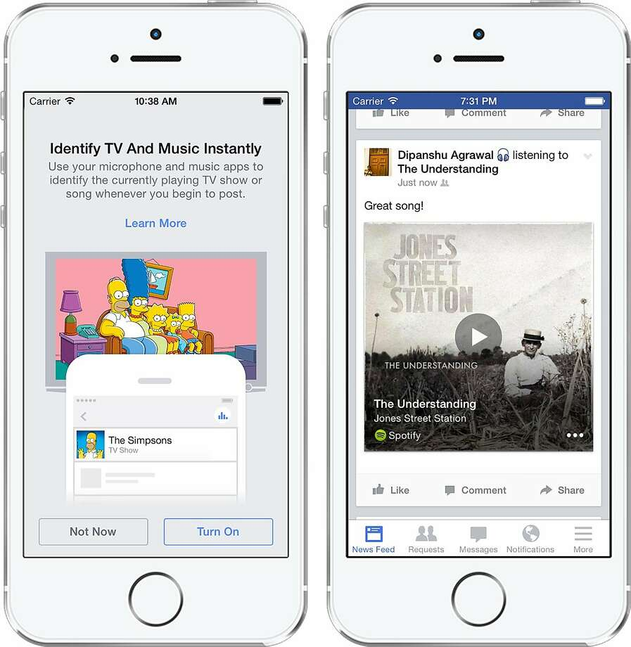 "Facebook is introducing a new mobile app feature that automatically ""listens"" for songs, TV shows and movies to share on News Feeds. So if you're listening to music, your friends will get a playable 30-second clip of the song. Photo: Facebook"
