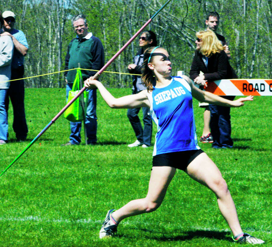 Sam Moravsky of the Spartan captures gold in the javelin for the Shepaug Valley High School girls' track and field team at the Berkshire League championship meet, May 17, 2014 in Litchfield. Photo: Norm Cummings / The News-Times