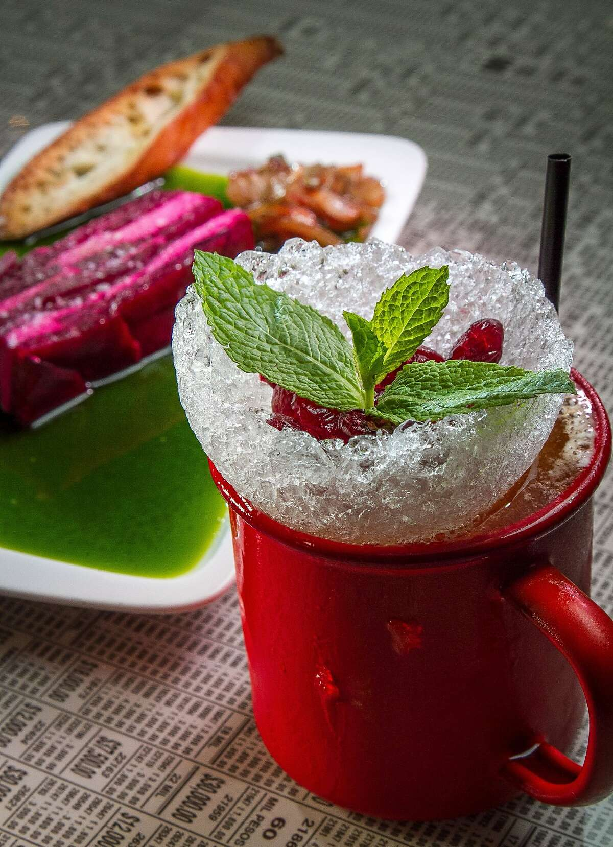 The Mezcal Mule cocktail at Lollo in San Francisco, Calif., is seen on Saturday, May 17th, 2014.