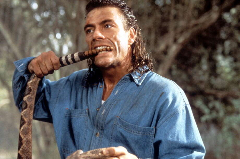 """Jean Claude Van Damme mulleted in """"Hard Target."""" Biting a rattlesnake is only the second worst decision he made here. Photo: Archive Photos, Getty Images / 2012 Getty Images"""