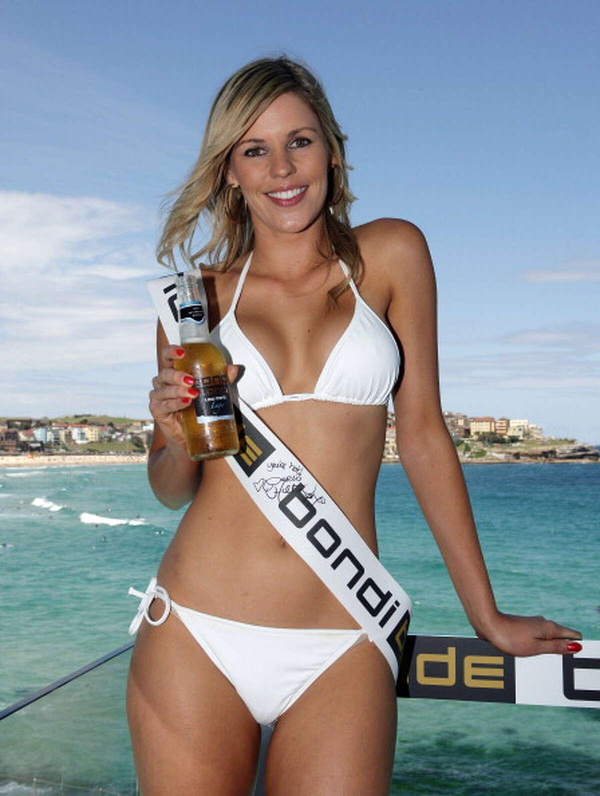Jamie Wright, winner during Paris Hilton Launches Bondi Blonde Beer at Bondi Icebergs in Sydney, NSW, Australia. (Photo by Don Arnold/FilmMagic)