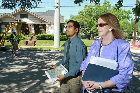Amar Mohite, head of Houston's Transportation Planning Group, and Suzy Hartgrove, public information officer with the City of Houston Planning and Development Department, take a look at Dunlavy Street.