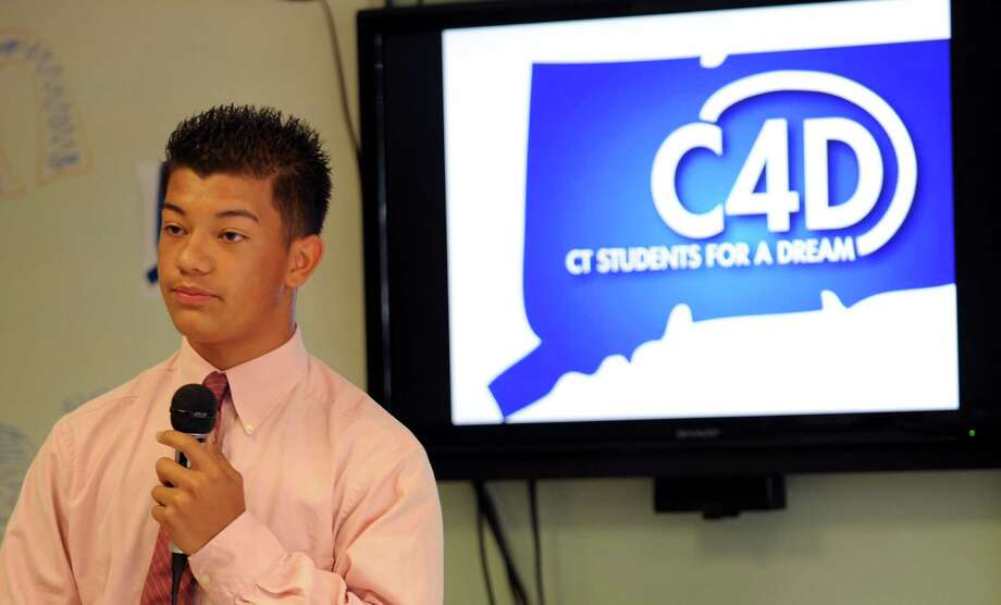 Junior Sierra was elated when told he will get a $20,000 Quinnipiac University scholarship after all. Sierra had mistakenly said the school cancelled his scholarship because he is an undocumented resident. Photo: Lindsay Niegelberg, File Photo / Stamford Advocate
