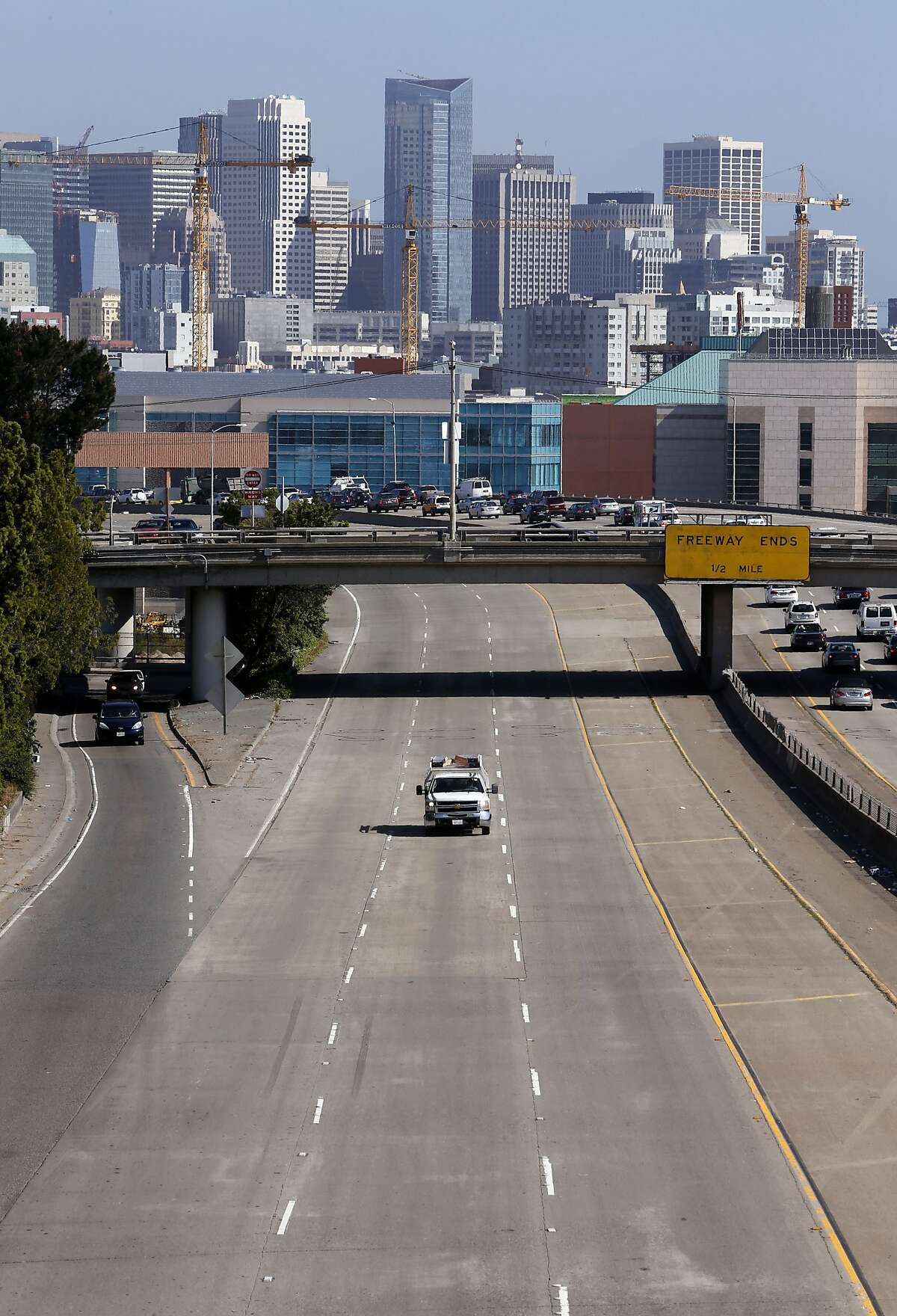 A lone pickup truck heads southbound out of downtown San Francisco, Calif. on the I-280 freeway in San Francisco, Calif., on Wednesday May 21, 2014. A stretch of southbound Interstate 280 in San Francisco will be closed for a safety enhancement project over Memorial Day weekend, between downtown San Francisco and the Pennsylvania Avenue on-ramp starting at 9 p.m. on Thursday and will reopen 5 a.m on Tuesday.