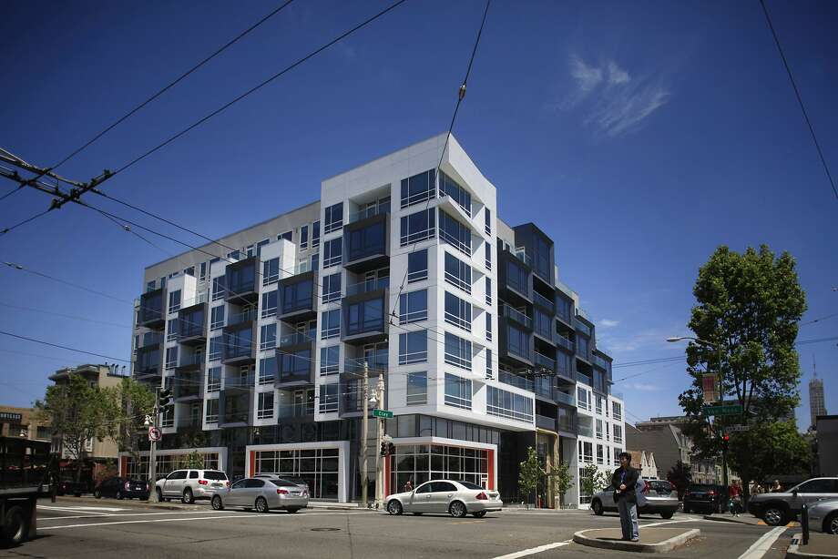 The Marlow is a brash eight-story box of condominiums at Van Ness Avenue and Clay Street whose contemporary design comes close to abstraction. Photo: Lea Suzuki, The Chronicle