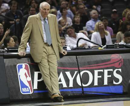 San Antonio Spurs head coach Gregg Popovich watches his players during the second half of game seven in the first round of the Western Conference Playoffs against the Dallas Mavericks at the AT&T Center, Sunday, May 4, 2014. The Spurs won, 119-96 to move on to the conference semi-finals against the Portland Trailblazers. Photo: Jerry Lara, San Antonio Express-News