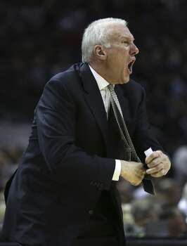 San Antonio Spurs head coach Gregg Popovich yells for at officials during the first half of game two in the first round of the Western Conference Playoffs against the Dallas Mavericks at the AT&T Center, Wednesday, April 23, 2014. Photo: Jerry Lara, San Antonio Express-News