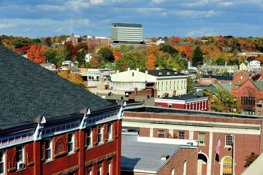 This is a view of downtown Danbury from the Bardo Parking Garage Sunday, Oct. 21, 2012. Photo: Michael Duffy / The News-Times