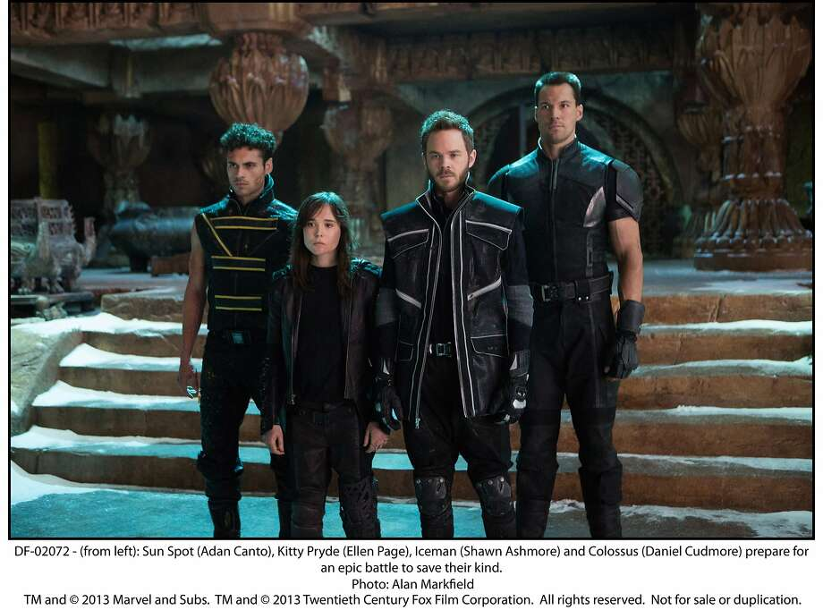 (from left): Sun Spot (Adan Canto), Kitty Pryde (Ellen Page), Iceman (Shawn Ashmore) and Colossus (Daniel Cudmore) prepare for an epic battle to save their kind in X-Men: Days of Future Past. Photo: Alan Markfield, Twentieh Century Fox