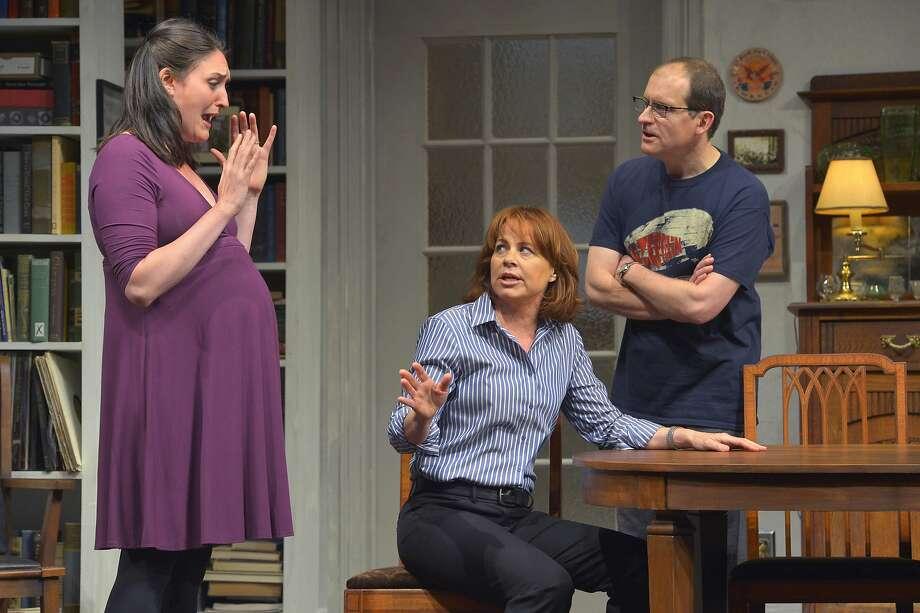 Empty (Deirdre Lovejoy, center) with her ex-husband, Adam (Anthony Fusco), and her pregnant lover, Maeve (Liz Wisan). Photo: Kevinberne.com