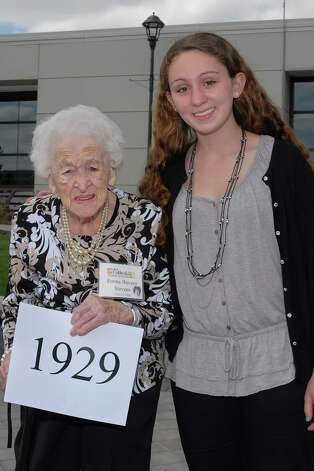 """One of SUNY Cobleskill?s oldest alumni, Emma Bunzey Stevens of the Class of 1929, attended her 85th reunion at the school's annual """"Golden Grads"""" luncheon on May 17. Stevens, 102, of Berne attended with her great-granddaughter, Jordan Miller of Albany, currently a SUNY Cobleskill student. Stevens received her A.A.S. degree in home economics and recalled the time when the campus was almost all farmland, with only a few buildings. (Dick Danielson)"""