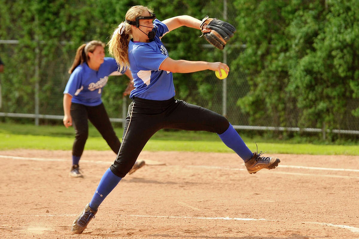 Erika Osherow was the starting pitcher for Darien during the Blue Wave's softball game against Westhill at Westhill High School in Stamford, Conn., on Wednesday, May 21, 2014. Darien won, 6-0. Osherow tallied 15 strikeouts in her complete game.