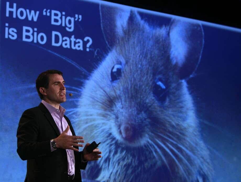 Colin Mahony, executive vice president and general manager of HP Vertica, speaks at the Big Data in Biomedicine conference at Stanford University, which runs through Friday. Photo: Paul Chinn, The Chronicle