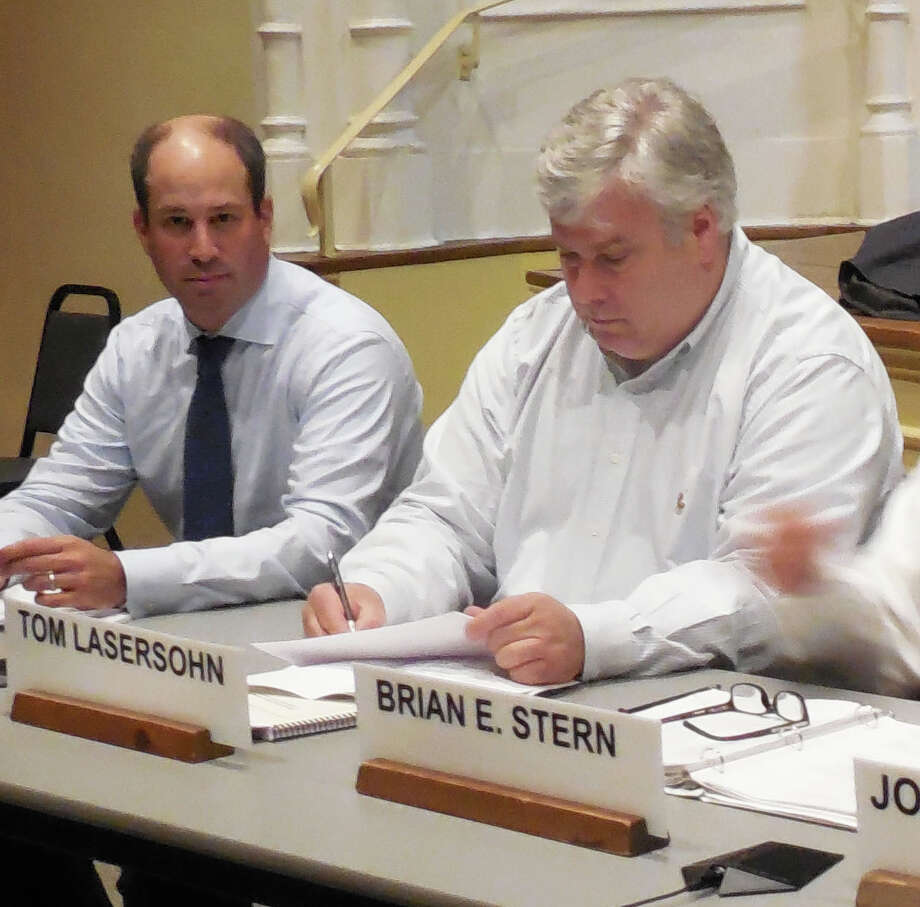 Board of Finance members Wednesday night approved a reduction in the town's mill rate from 18.07 to 17.94 mills. In the photo are BOF members, from left, Lee Caney and Tom Lasersohn. Lasersohn and fellow member Brian Stern made the recommendation. Photo: Anne M. Amato / westport news