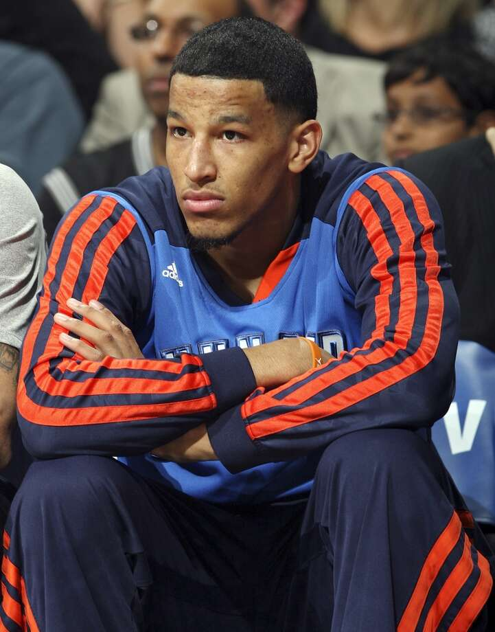 Oklahoma City Thunder's Andre Roberson watch first half action of Game 2 in the Western Conference Finals against the San Antonio Spurs from the bench Wednesday May 21, 2014 at the AT&T Center. (Edward A. Ornelas/Express-News) Photo: Edward A. Ornelas, San Antonio Express-News