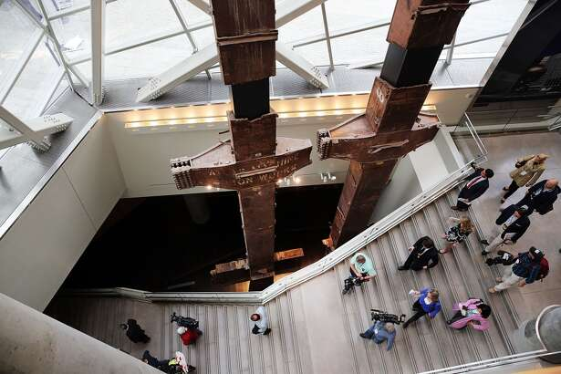 The salvaged tridents from the World Trade Center are viewed during a preview of the National September 11 Memorial Museum on May 14 in New York City. The long awaited museum opened to the public on May 21 following a six-day dedication period for 9/11 families, survivors, first responders, workers, and local city residents. While the construction of the museum has often been fraught with politics and controversy, the exhibitions and displays seek to pay tribute to the 2,983 victims of the 9/11 attacks and the 1993 bombing while also educating the public on the September 11 attacks on the World Trade Center, the Pentagon and in Pennsylvania.