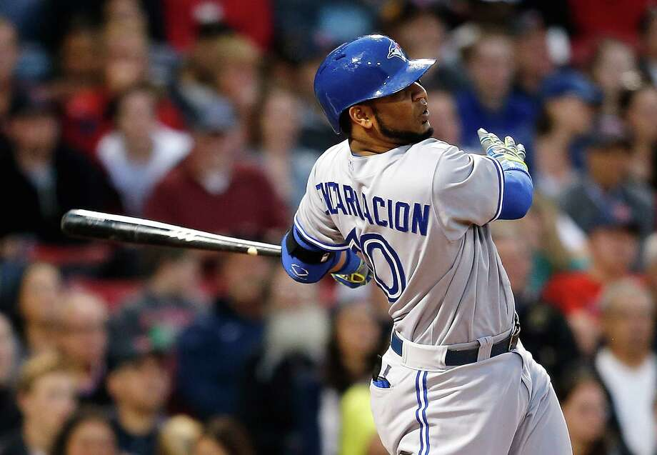 BOSTON, MA - MAY 21:  Edwin Encarnacion #10 of the Toronto Blue Jays hits his second home run against the Boston Red Sox in the third inning at Fenway Park on May 21, 2014 in Boston, Massachusetts.  (Photo by Jim Rogash/Getty Images) ORG XMIT: 477583501 Photo: Jim Rogash / 2014 Getty Images
