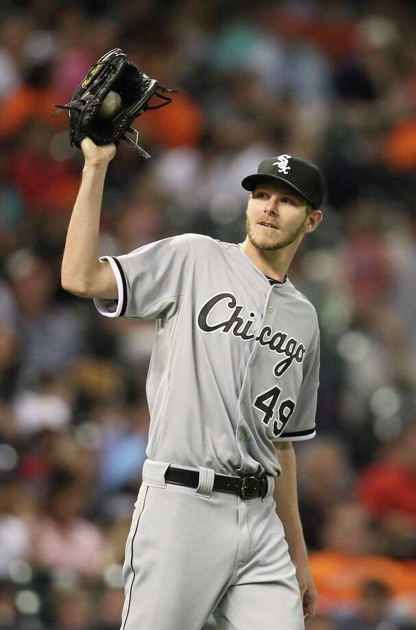 Chicago White Sox starting pitcher Chris Sale (49) after a wild pitch during the fifth inning of an MLB game at Minute Maid Park, Friday, June 14, 2013, in Houston. ( Karen Warren / Houston Chronicle ) Photo: Karen Warren, Staff / © 2013 Houston Chronicle