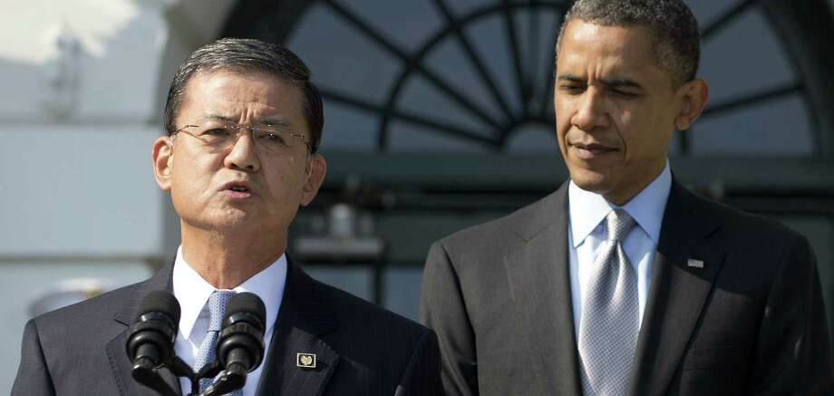 Although he met with President Barack Obama at the White House, VA Secretary Eric Shinseki, seen here in 2012, didn't appear publicly with the president on Wednesday. Photo: Getty Images / File Photo / AFP