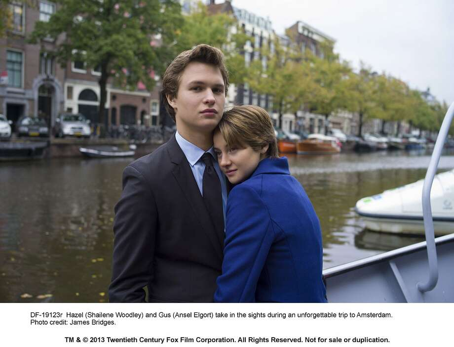 "Gus (Ansel Elgort) and Hazel (Shailene Woodley) try to make their wishes come true in the short time they have together in ""The Fault in Our Stars,"" adapted from John Green's bestselling novel. Movie opens June 6. Photo credit: James Bridges.   DF-19123r -- Hazel (Shailene Woodley) and Gus (Ansel Elgort) take in the sights during an unforgettable trip to Amsterdam. Photo: James Bridges, 20th Century Fox"