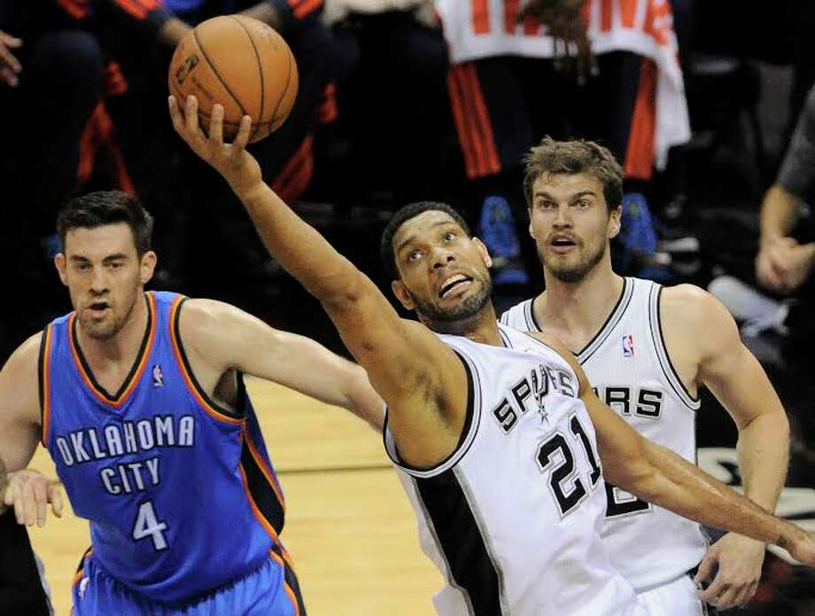 San Antonio Spurs' Tim Duncan during Game 2 of the Western Conference Finals against the Oklahoma City Thunder Wednesday May 21, 2014 at the AT&T Center. Photo: Darren Abate, Jabari Young/Express-News