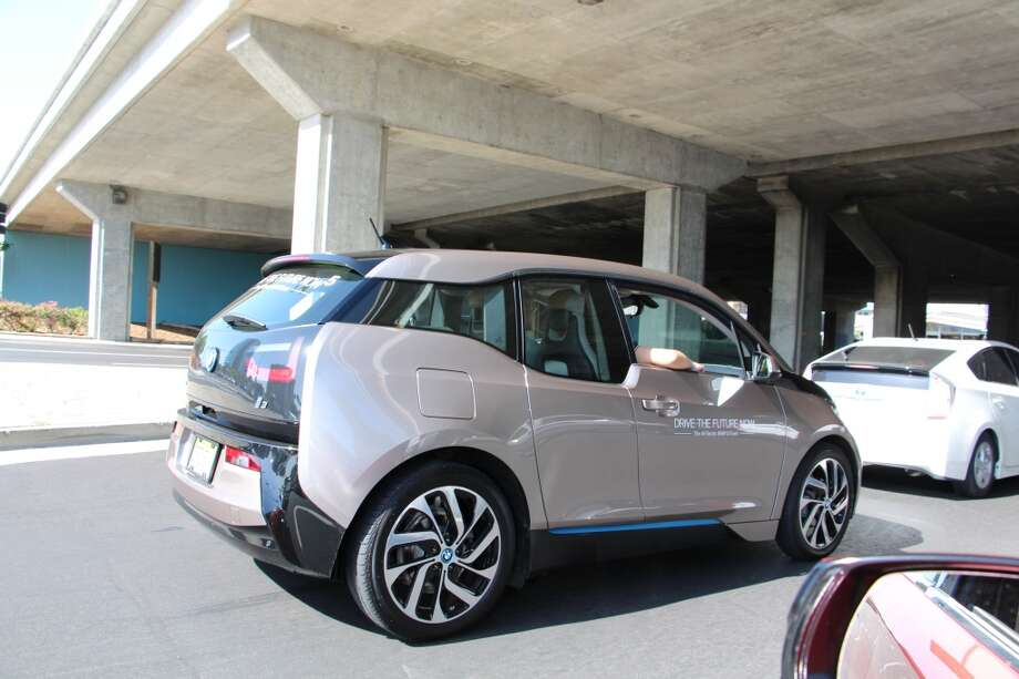 """BMW's new i3 is an all-electric car, with an optional """"range extender"""" gas engine to charge up the batteries.  (Photos by Michael Taylor)"""