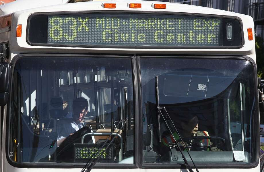 """Muni express buses that run after 6pm ... until 7 or 7:30pm."" (Suggested by ""artysf."") Photo: Liz Hafalia, The Chronicle"