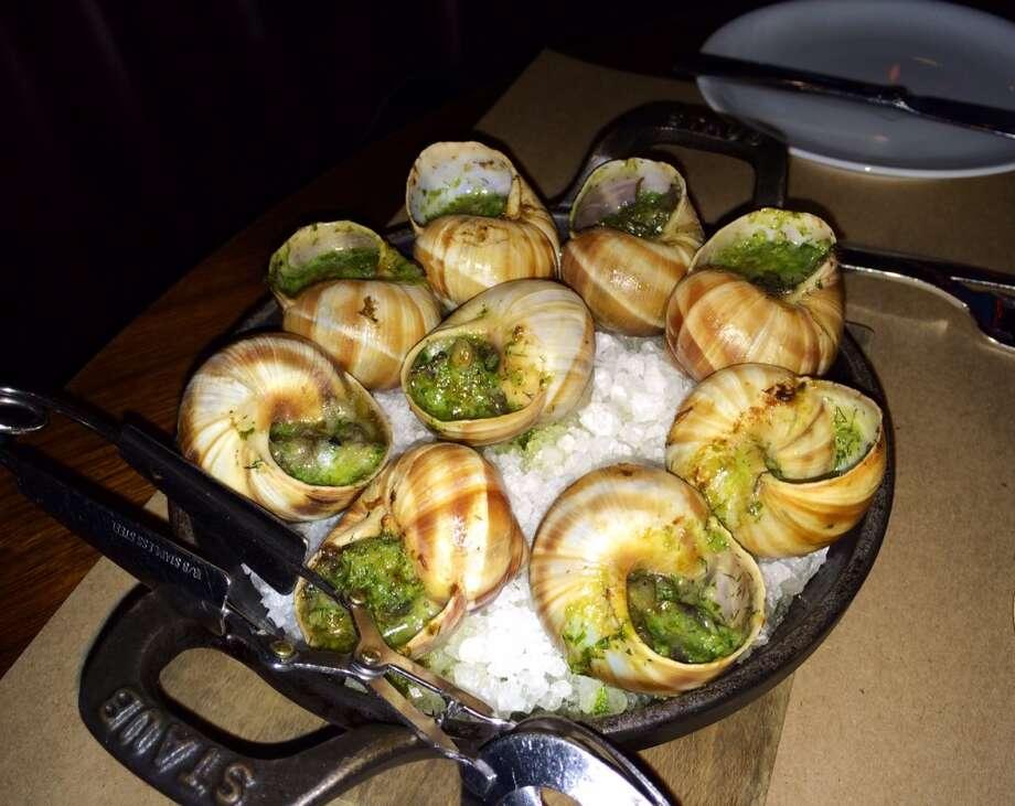 Burgundy escargot with garlic herb butter ($15)