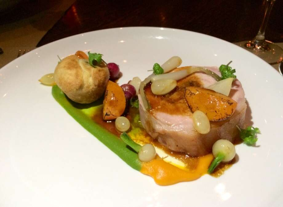 Pork loin ballotine with apricot puree, tokyo turnips and a bacon adn wild ramp torte ($30)