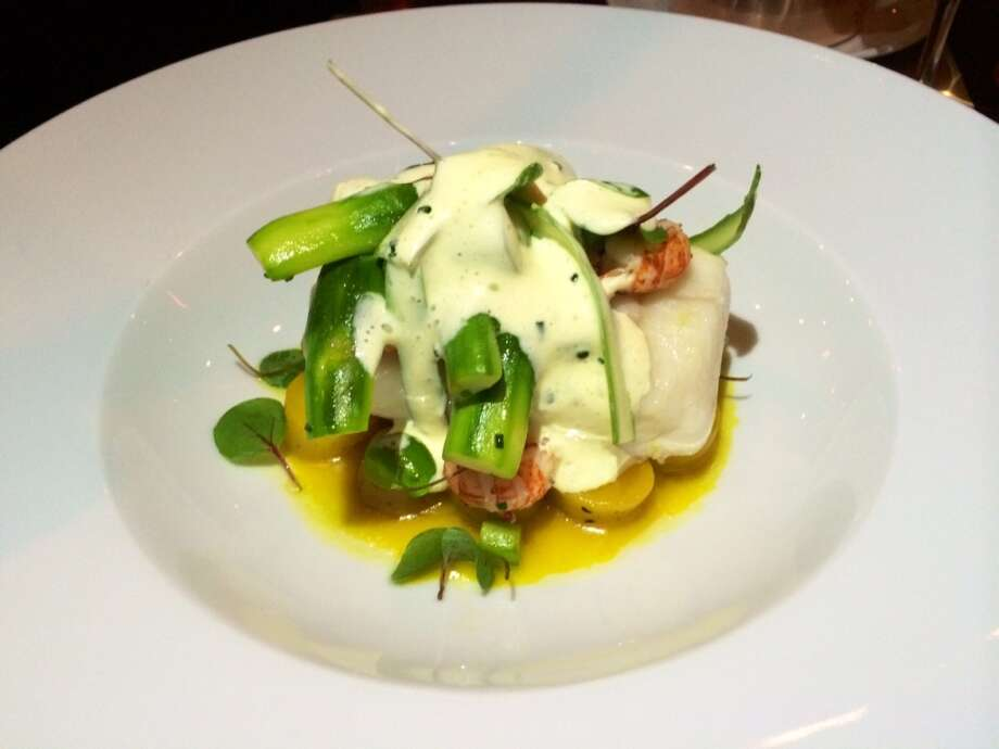 Slow- cooked halibut with crayfish, asparagus and Champagne sabayon ($35)