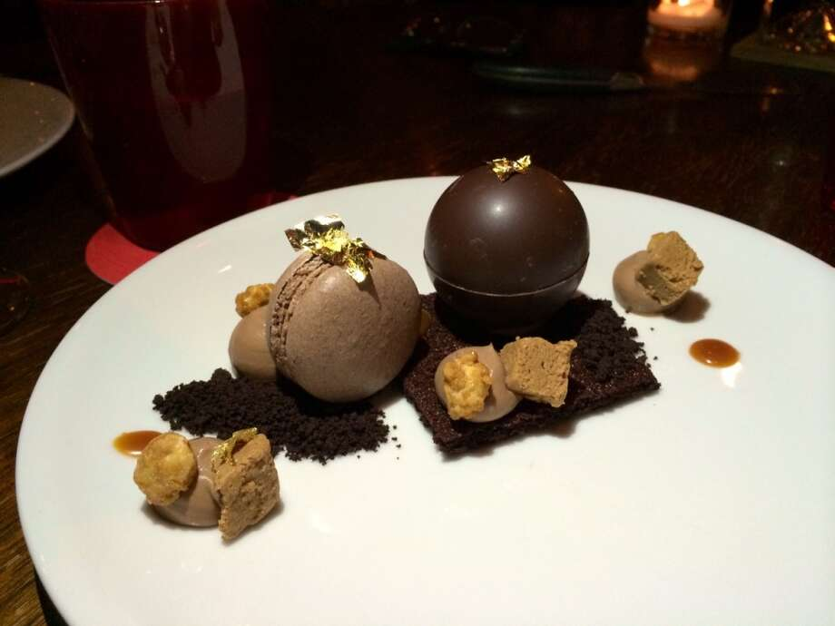 Chocolate peanut cup with macaron, praline and espresso cream ($11)