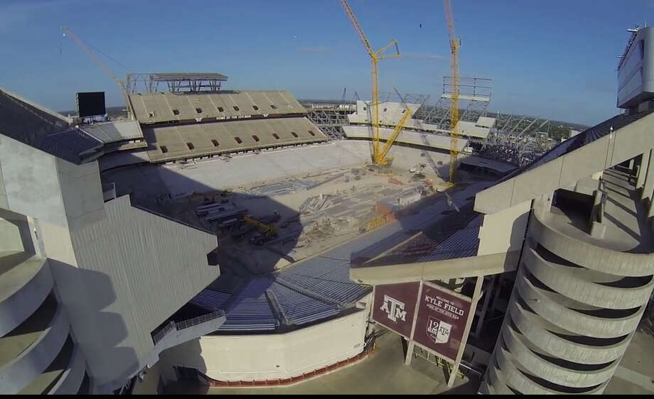 A drone with a camera got this aerial view of the renovation under way at Texas A&M's Kyle Field, May 19, 2014.