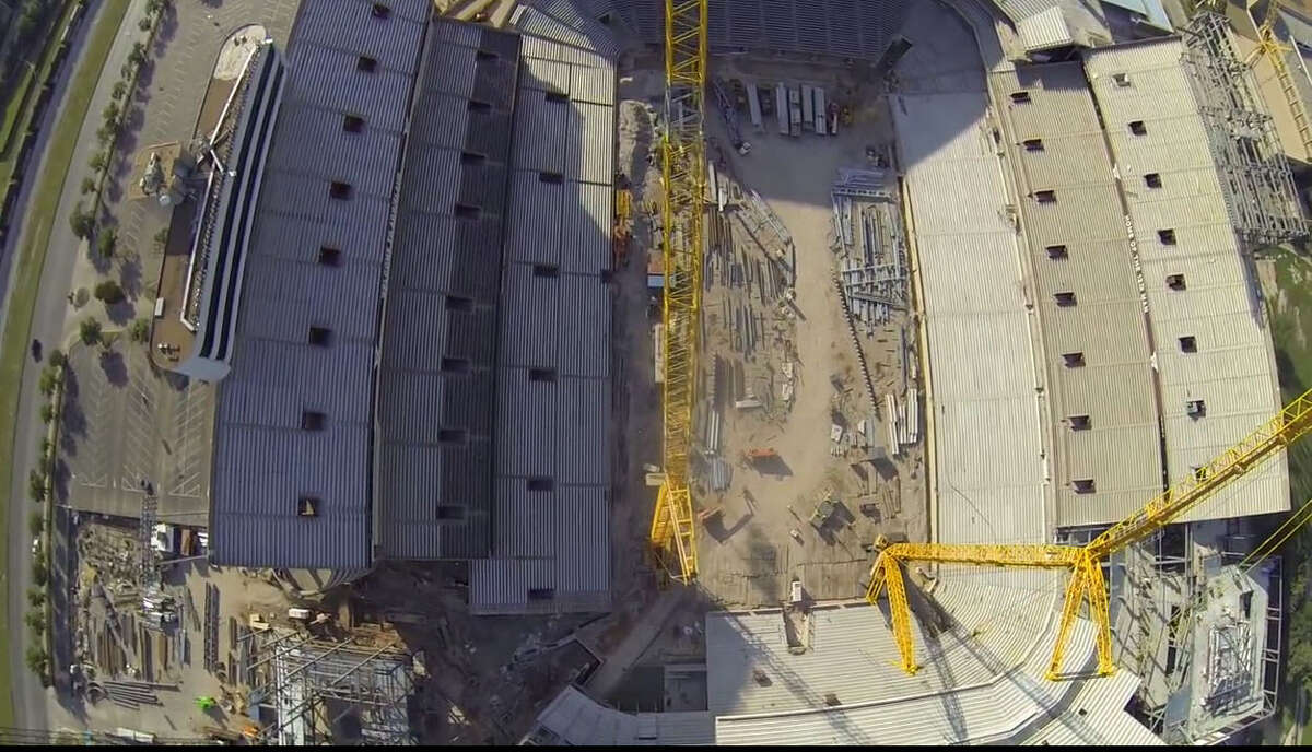 An aerial view of Kyle Field renovation, May 19, 2014.