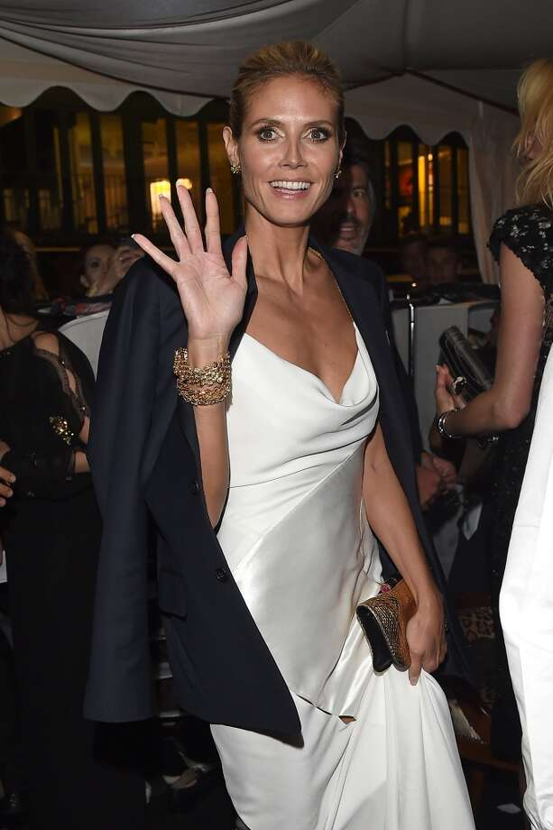 "Heidi Klum attends the ""Roberto Cavalli Annual Party Aboard"" : Outside Arrivals at the 67th Annual Cannes Film Festival on May 21, 2014 in Photo: Jacopo Raule, FilmMagic"