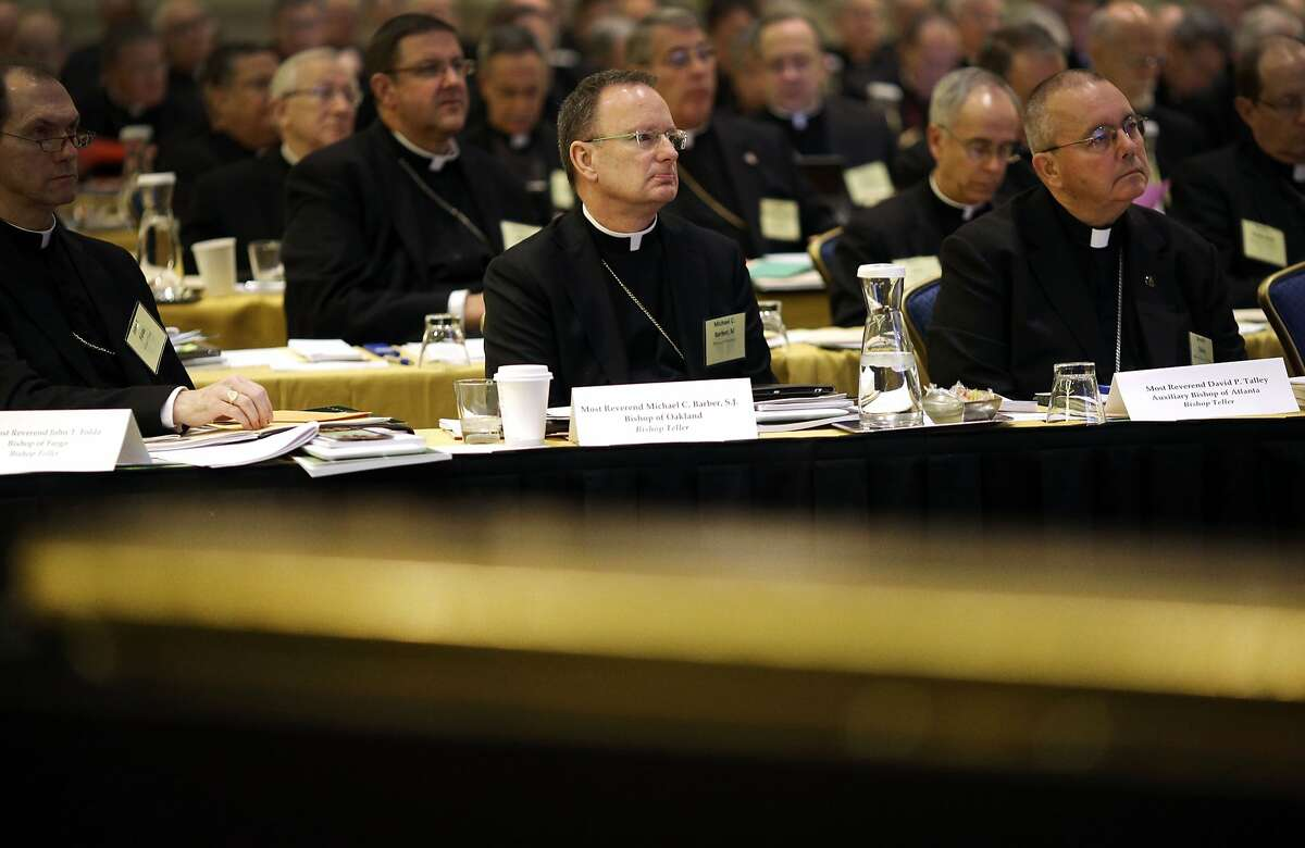Bishop Michael Barber, center, of Oakland, Calif., listens to a presentation alongside fellow bishops at the United States Conference of Catholic Bishops' annual fall meeting in Baltimore, Tuesday, Nov. 12, 2013. Roman Catholic bishops on Tuesday elected Archbishop Joseph Kurtz of Kentucky to be their new president in their first national meeting since Pope Francis was elected.(AP Photo/Patrick Semansky)