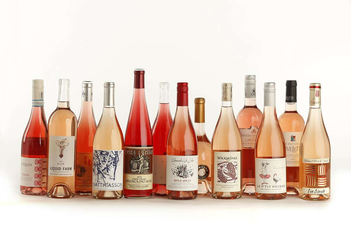 THE UTILITY PLAYERS left-right: 2013 Le Fraghe Rodon Bardolino Chiaretto 2013 Liquid Farm Vogelzang Vineyard Happy Canyon of Santa Barbara Rosé 2013 Charles Joguet Chinon Rosé 2013 Matthiasson California Rosé 2013 Heitz Cellar Napa Valley Grignolino Rosé 2013 Broc Cellars Sonoma County White Zinfandel 2013 Edmunds St. John Bone-Jolly Witters Vineyard El Dorado County Gamay Noir Rosé 2013 Miraval Cotes de Provence Rosé 2013 Waxwing Spring Hill Vineyard Sonoma Coast Pinot Noir Rosé 2013 Chateau du Donjon Minervois 2013 Le P'tit Paysan Pierre's Pirouette San Benito County Rosé of Mourvedre 2013 Chateau Revelette Coteaux d'Aix en Provence 2013 Chateau d'Or et des Gueules Les Cimels Costieres de Nimes as seen in San Francisco, California, on May 21, 2014.
