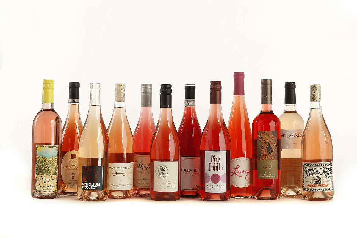 THE HEAVY HITTERS left-right: 2013 Abacela Umpqua Valley Grenache Rosé 2013 Pierre Boniface Les Rocailles Vin de Savoie Rosé 2013 The Scholium Project Rhododactylos Bechtold Ranch California White 2013 Dragonette Cellars Happy Canyon of Santa Barbara Rosé 2013 Stoller Family Dundee Hills Pinot Noir Rosé 2013 Donkey & Goat Isabel's Cuvee Mendocino Grenache Rosé 2013 Idlewild Gibson Ranch Mendocino County Grenache Gris 2013 Fiddlehead Cellars Pink Fiddle Sta. Rita Hills Pinot Noir 2013 Lucy Santa Lucia Highlands Rosé of Pinot Noir 2013 Three Wine Co. Contra Costa County Carignane Rosé 2013 Chateau Lascaux Languedoc Rosé 2013 Vaughn Duffy Sonoma County Rosé of Pinot Noir as seen in San Francisco, California, on May 21, 2014.