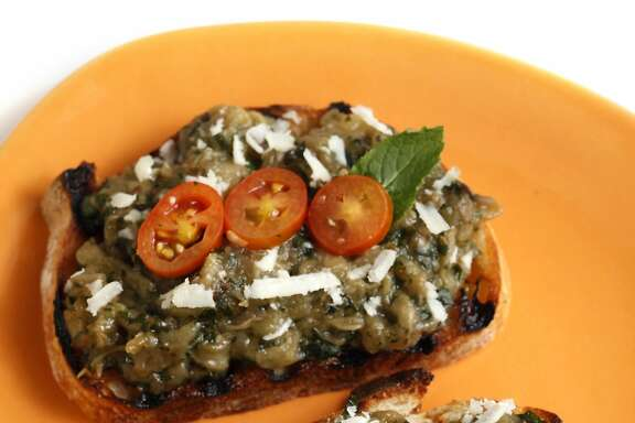 """Crostino di Melanzane """"sottocenere"""" (Tim Caspare, Cotogna) as seen in San Francisco, California, on May 21, 2014. Food styled by Lynne Char Bennett."""