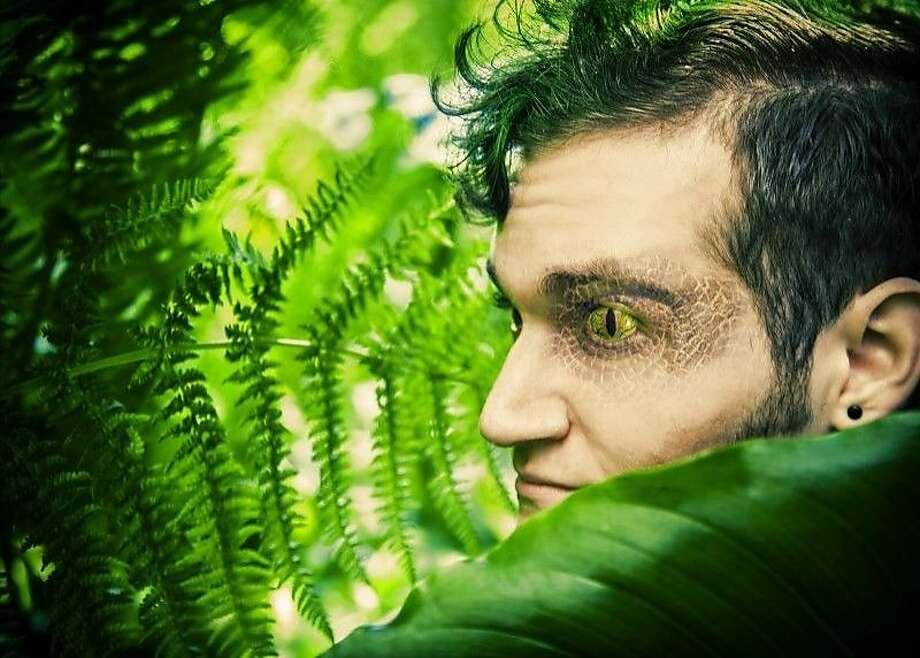 "Lewis Rawlinson plays Velociraptor of Innocence in ""Triassic Parq"" at the Eureka Theatre. Photo: Erik Scanlon"