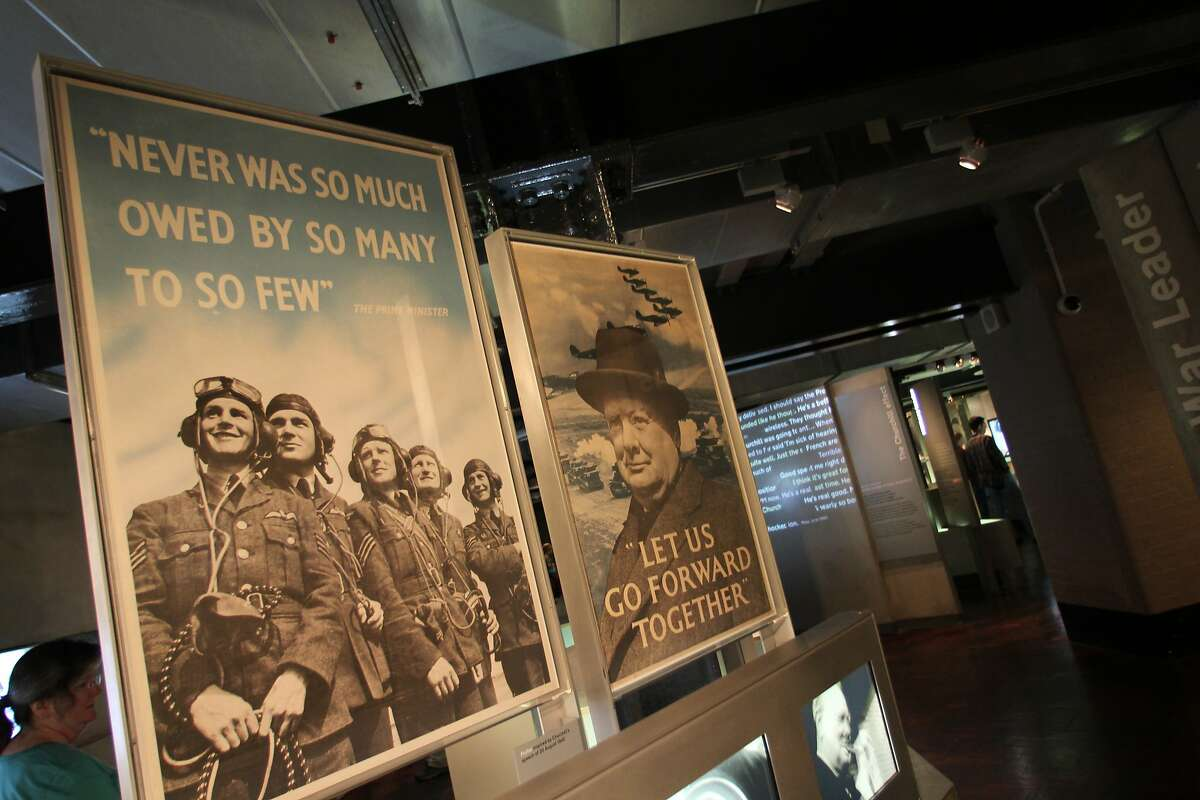 Posters inside the Churchill Museum, which is part of the Churchill War Rooms museum, illustrate the focus on the British prime minister during the war.