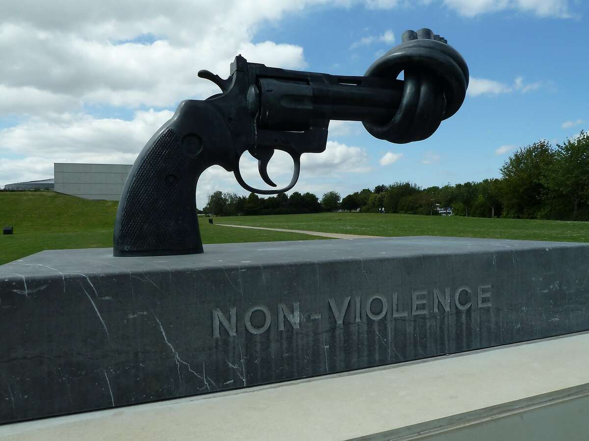 Permanent sculpture outside the Caen Memorial Centre for History and Peace in Caen, France.