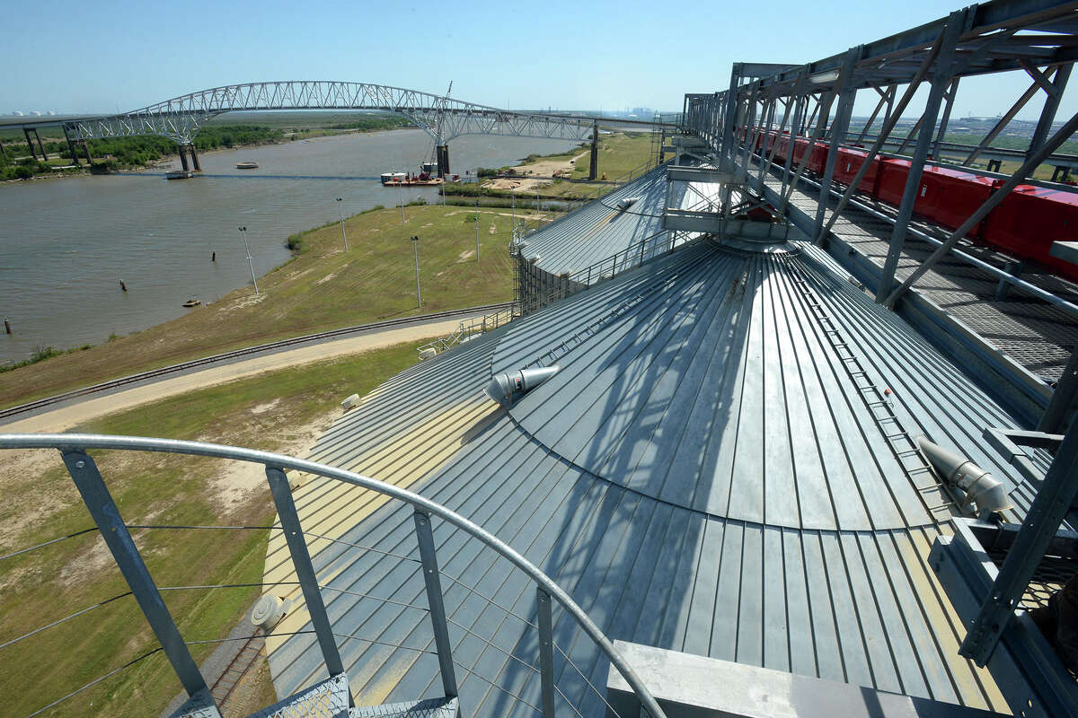 The Martin Luther King Bridge as seen Friday from the Port of Port Arthur's new silos that contain wood pellets. If passed, a congressional bill on the floor this week would allow for the widening of the Sabine-Neches Waterway. Photo taken Friday March 16, 2014 Guiseppe Barranco/@spotnewsshooter