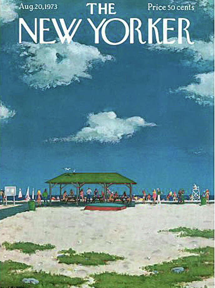 Compo Beach -- a great place to spend a Memorial Day weekend -- is depicted in this New Yorker magazine illustration by Albert Hubbell for August 1973 -- one of the New Yorker covers featured in an exhibit at the Westport Historical Society through July 5. The exhibit is open today from 10 a.m. to 4 p.m. Photo: Contributed Photo / Westport News