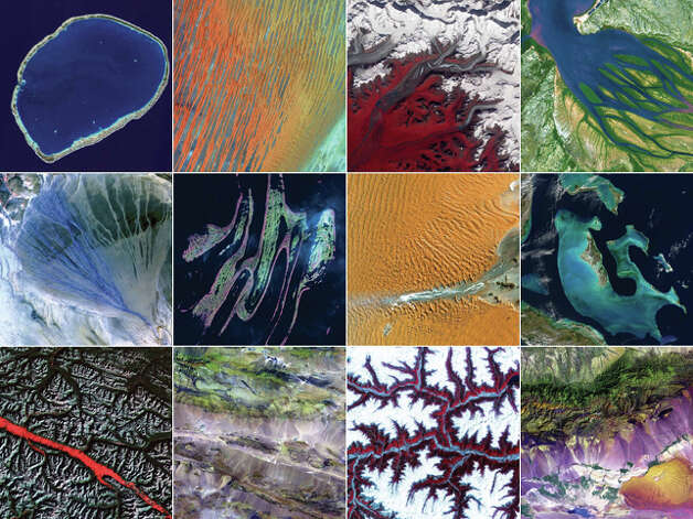 "For more images like these or to find out more about the landforms featured, see NASA's ""Earth as Art,"" avail"