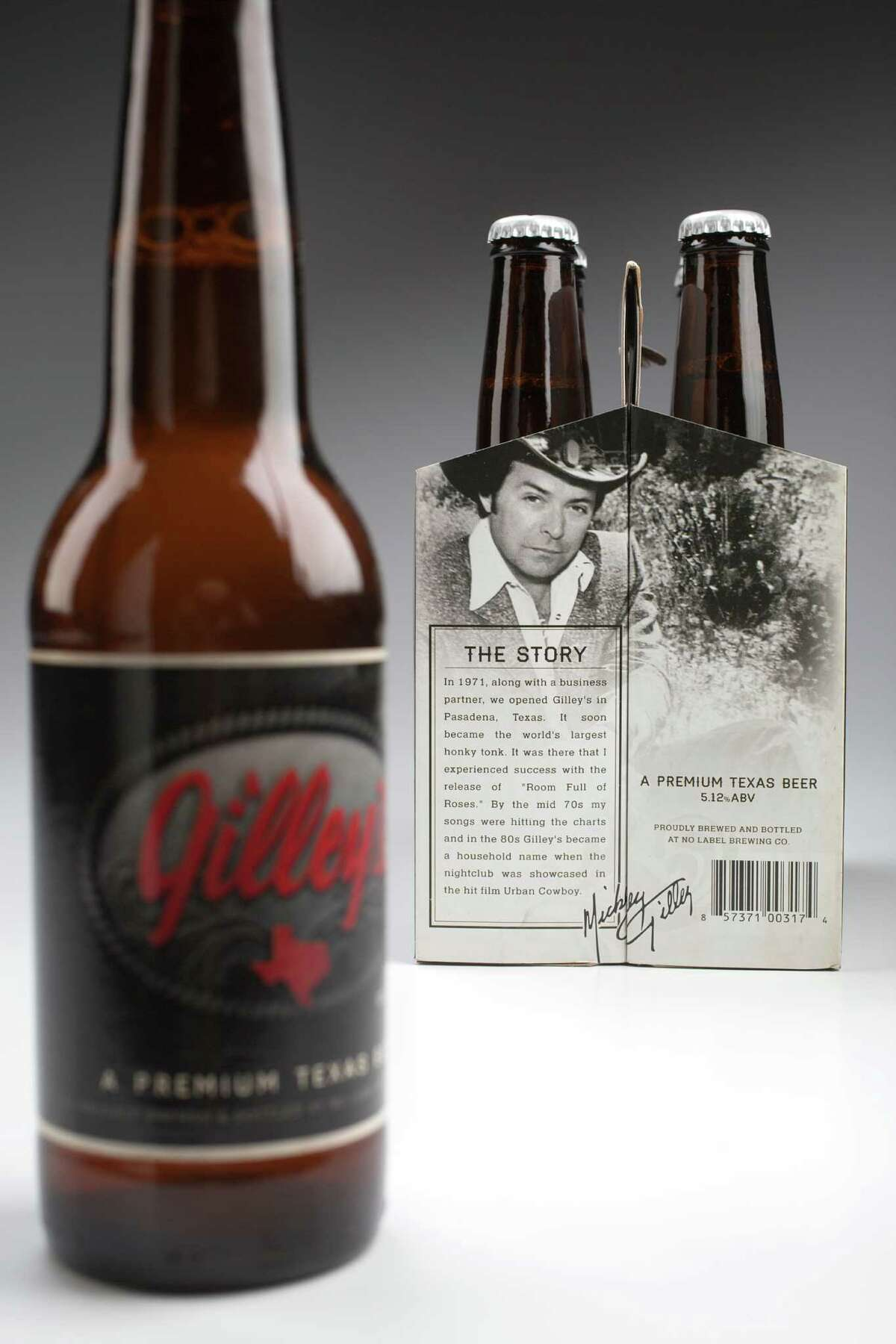 Gilley's beer, brewed on a contract basis by No Label Brewing Co. photographed in the Chronicle studio Thursday, May 22, 2014, in Houston. ( Johnny Hanson / Houston Chronicle )