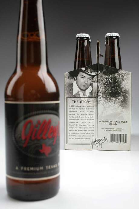 Gilley's beer, brewed on a contract basis by No Label Brewing Co. photographed in the Chronicle studio Thursday, May 22, 2014, in Houston. ( Johnny Hanson / Houston Chronicle ) Photo: Johnny Hanson / © 2014  Houston Chronicle